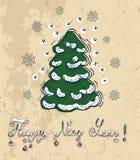 Νέα κάρτα έτους με το κωνοφόρο και το κείμενο ελεύθερη απεικόνιση δικαιώματος