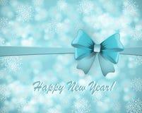 Νέα κάρτα έτους με το μπλε τόξο στο χιονώδες υπόβαθρο απεικόνιση αποθεμάτων