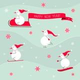 Νέα κάρτα έτους με το χαριτωμένο χιονάνθρωπο Στοκ Εικόνες