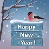 Νέα κάρτα έτους με το bullfinch Στοκ εικόνα με δικαίωμα ελεύθερης χρήσης