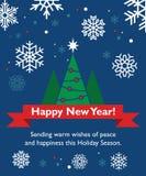 Νέα κάρτα έτους με fir-tree Στοκ Εικόνες