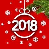 Νέα κάρτα έτους 2018 με snowflakes Στοκ φωτογραφία με δικαίωμα ελεύθερης χρήσης