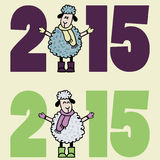 Νέα κάρτα έτους του 2015 με τα πρόβατα κινούμενων σχεδίων Στοκ εικόνα με δικαίωμα ελεύθερης χρήσης