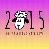 Νέα κάρτα έτους του 2015 με τα πρόβατα κινούμενων σχεδίων Στοκ Εικόνα