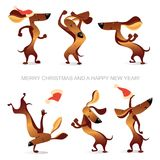 Νέα κάρτα έτους ` s με τα αστεία χορεύοντας σκυλιά Στοκ φωτογραφία με δικαίωμα ελεύθερης χρήσης