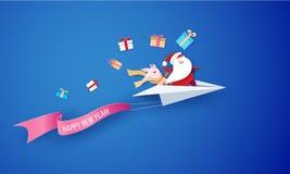 2019 νέα κάρτα σχεδίου πώλησης έτους με Άγιο Βασίλη διανυσματική απεικόνιση