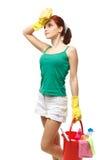 Νέα καθαρίζοντας γυναίκα Στοκ εικόνα με δικαίωμα ελεύθερης χρήσης