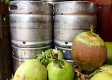Νέα καρύδες και βυτίο μπύρας μετάλλων στοκ εικόνες με δικαίωμα ελεύθερης χρήσης