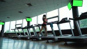 Νέα κατάρτιση γυναικών treadmill στη λέσχη ικανότητας απόθεμα βίντεο