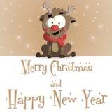 Νέα κατακόκκινη καφετιά ευχετήρια κάρτα έτους διανυσματική απεικόνιση