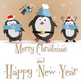 Νέα καφετιά ευχετήρια κάρτα έτους penguins απεικόνιση αποθεμάτων