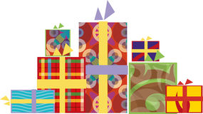 Νέα κιβώτια δώρων έτους διανυσματική απεικόνιση