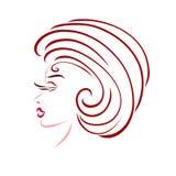 Νέα κομψή γυναίκα με ένα δημιουργικό hairdo, glamor απεικόνιση αποθεμάτων