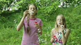 Νέα κορίτσια που φυσούν τις φυσαλίδες σαπουνιών υπαίθριες απόθεμα βίντεο