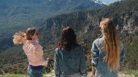 Νέα κορίτσια στην άποψη που απολαμβάνουν το όμορφο τοπίο απόθεμα βίντεο