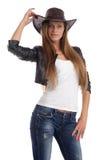 Νέα κυρία σε ένα καπέλο κάουμποϋ Στοκ εικόνες με δικαίωμα ελεύθερης χρήσης