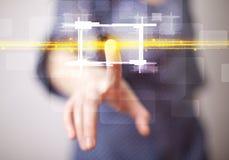 Νέα κυρία τεχνολογίας σχετικά με το κουμπί με την πορτοκαλιά έννοια ελαφριών ακτίνων Στοκ φωτογραφία με δικαίωμα ελεύθερης χρήσης