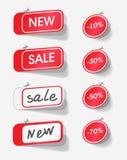 νέα κόκκινη πώληση ετικετών Στοκ Φωτογραφία