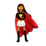 Νέα μαύρη γυναίκα στο κλασικό φόρεμα του superhero και μιας κόκκινης απεικόνισης ακρωτηρίων Στοκ Εικόνα