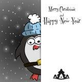 Νέα μαύρη ευχετήρια κάρτα έτους penguin διανυσματική απεικόνιση
