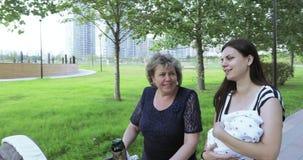 Νέα μητέρα με το mom της στο πάρκο απόθεμα βίντεο