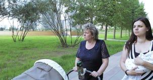 Νέα μητέρα με το mom της στο πάρκο φιλμ μικρού μήκους