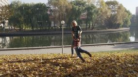 Νέα μητέρα που έχει τη διασκέδαση με το γιο της στο πάρκο φθινοπώρου στην ηλιόλουστη ημέρα φιλμ μικρού μήκους