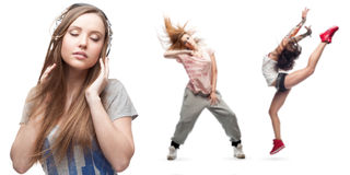 Νέα μουσική ακούσματος γυναικών και δύο χορευτές στο υπόβαθρο Στοκ Εικόνες