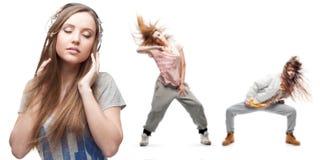 Νέα μουσική ακούσματος γυναικών και δύο χορευτές στο υπόβαθρο Στοκ εικόνα με δικαίωμα ελεύθερης χρήσης