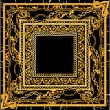Νέα μπαρόκ χρυσή αλυσίδα στο μαύρο άσπρο σχέδιο μαντίλι χρώματος απεικόνιση αποθεμάτων