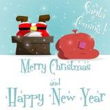 Νέα μπλε ευχετήρια κάρτα Άγιου Βασίλη έτους διανυσματική απεικόνιση