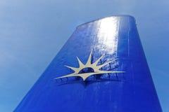 Νέα μπλε-χρωματισμένη χοάνη με το λογότυπο γραμμών κρουαζιέρας Π και Ο Στοκ φωτογραφία με δικαίωμα ελεύθερης χρήσης