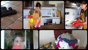 Νέα νοικοκυρά, κολάζ απόθεμα βίντεο