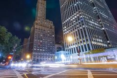 νέα νύχτα Υόρκη Φω'τα πόλεων τη νύχτα στη Νέα Υόρκη Στοκ φωτογραφίες με δικαίωμα ελεύθερης χρήσης