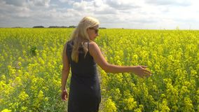 Νέα ξανθή τοποθέτηση γυναικών στον όμορφο τομέα συναπόσπορων απόθεμα βίντεο