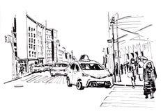 νέα οδός Υόρκη σκίτσο Στοκ Εικόνες