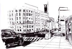 νέα οδός Υόρκη σκίτσο Στοκ φωτογραφία με δικαίωμα ελεύθερης χρήσης