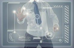 Νέα οθόνη επιχειρηματιών και αφής στοκ φωτογραφίες με δικαίωμα ελεύθερης χρήσης