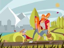 Νέα οικογένεια με το μικρό παιδί και το κορίτσι που περπατούν στο πάρκο Κινούμενα σχέδια Β απεικόνιση αποθεμάτων
