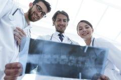 Νέα ομάδα κατώτατης άποψης γιατρών που εξετάζουν την ακτίνα X Στοκ φωτογραφίες με δικαίωμα ελεύθερης χρήσης