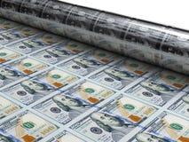 Νέα δολάρια τυπωμένων υλών μηχανών χρημάτων Στοκ Φωτογραφίες