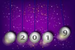 Νέα παραμονή 2019 έτους ` s Σφαίρες εκκρεμών Ρεαλιστική διανυσματική απεικόνιση διανυσματική απεικόνιση