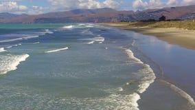 Νέα παραλία Christchurch Νέα Ζηλανδία Βρετανού απόθεμα βίντεο
