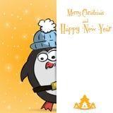 Νέα πορτοκαλιά ευχετήρια κάρτα έτους penguin απεικόνιση αποθεμάτων