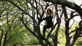 Νέα προκλητική γυναίκα χορευτών που χορεύει στο δέντρο απόθεμα βίντεο
