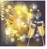 Νέα πυροτεχνήματα έτους και γυαλιά σαμπάνιας διανυσματική απεικόνιση