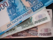 Νέα ρωσικά 2000 ρούβλια, παλαιά 500 και 1000 ρούβλια Στοκ φωτογραφίες με δικαίωμα ελεύθερης χρήσης