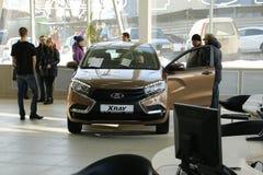 Νέα ρωσική ΑΚΤΙΝΑ X Lada αυτοκινήτων που υποβλήθηκε στις 14 Φεβρουαρίου 2016 στην αίθουσα εκθέσεως Severavto Στοκ Εικόνες