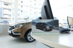 Νέα ρωσική ΑΚΤΙΝΑ X Lada αυτοκινήτων κατά τη διάρκεια της παρουσίασης στις 14 Φεβρουαρίου 2016 στην αυτοκινητική αίθουσα εκθέσεως Στοκ φωτογραφίες με δικαίωμα ελεύθερης χρήσης