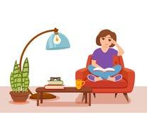 Νέα συνεδρίαση βιβλίων ανάγνωσης γυναικών στην πολυθρόνα απεικόνιση αποθεμάτων